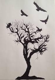 black silhouette flying birds tree design