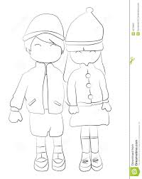 hand drawn coloring page of a boy and holding hands stock