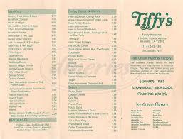 tiffys family restaurant menu anaheim dineries