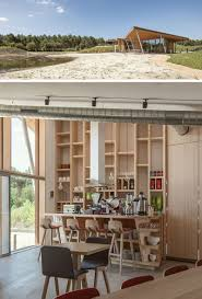 covered outdoor seating butterfly roofs give this cluster of holiday homes a modern look