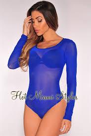 royal blue blue sheer mesh sleeves bodysuit