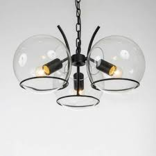 chic modern 3 light clear globe shade small chandelier in black