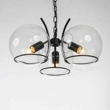 Black Mini Chandelier Chic Modern 3 Light Clear Globe Shade Small Chandelier In Black