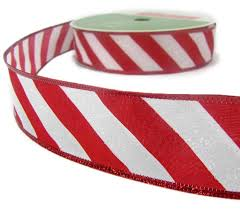 wired ribbon 5yd christmas white candy peppermint iridescent glitter