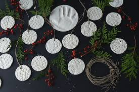 diy doily print baking soda clay ornaments fare isle