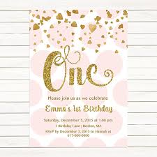 pink and gold 1st birthday invitation any age pink gold