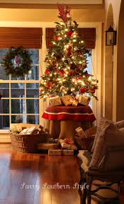 christmas decor for round tables the tree savvy southern style burlap and plaid