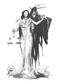 lady justice with grim reaper tattoo design rose tattoos