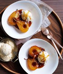 gourmet pears caramel pears with rice pudding gourmet traveller