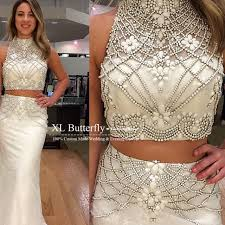 2 piece prom gown two piece prom dresses white evening gowns 2