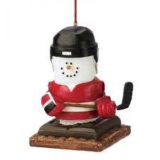 s mores hockey player ornament and city