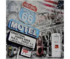 pompe a essence retro grand tableau toile usa vintage motel route 66 pompe essence