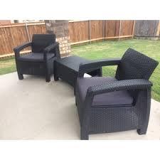 Patio Armchair Keter Corfu Charcoal All Weather Outdoor Garden Patio Armchair