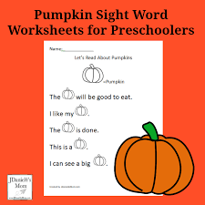 pumpkin sight word worksheets for preschoolers facebook png