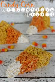 candy corn rice krispie treats for halloween season