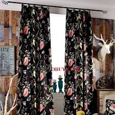 Black Floral Curtains Insulated And Thermal Jacquard Floral Pattern Velvet Fabric