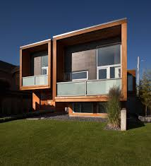 wooden facade of modern house design ideas with glass curtain wall
