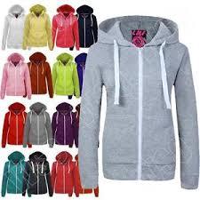 new womens ladies hoodie plain zip up hooded top jacket size s m l