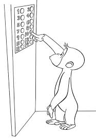 pressing button in the lift curious george coloring pages