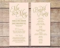 simple wedding ceremony program blush pink gold wedding program classic glam customizable