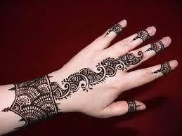 easy henna design wrist back and fingers