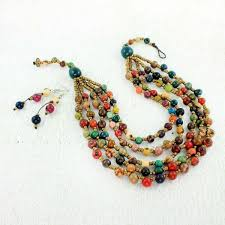color beads necklace images Multistrand necklace set jpg