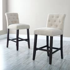 White Tufted Counter Height Bar Stools For Modern Kitchen Decor