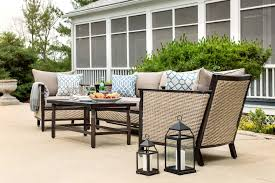 Patio Furniture Set by Colton 4pc Patio Furniture Set Neutral Grey Wicker U2013 La Z Boy