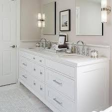 Gray And Tan Bathroom - white herringbone sink tiles design ideas