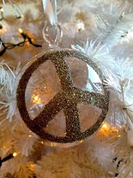 holiday ornament glass peace sign peace ornament and 50th