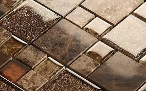 Brown Glass Tile Backsplash by Stone And Glass Mosaic Sheets Square Tiles Emperador Dark Marble