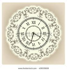 vintage clock floral ornament curly stock vector 426039856