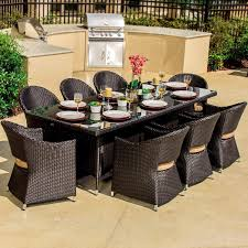 Vinyl Wicker Patio Furniture - providence 9 piece resin wicker patio dining set by lakeview