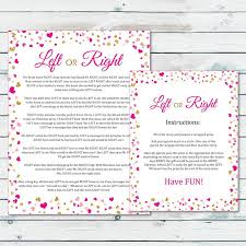 free printable bridal shower left right game left or right bridal shower game pass the prize bridal game