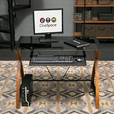 Glass Top Desk With Keyboard Tray Modern Glass Computer Desk Ebay