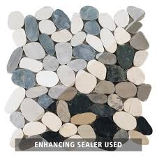 Floor And More Decor Bodrum Cool Blend Flat Pebblestone Mosaic 12in X 12in