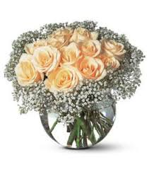 Round Glass Vase Day Bouquet With Peach Roses And Small Flowers In Round Glass Vase Png