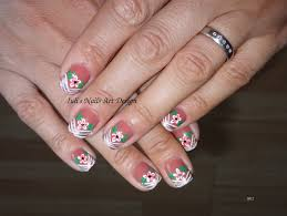 late summer flowers on v stripe french manicure youtube