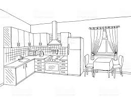 black white kitchen kitchen room interior black white graphic art sketch illustration