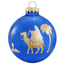 wiseman gold on blue silhouette ornament religious