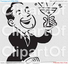 retro martini drawing clipart retro black and white man laughing and holding a cocktail