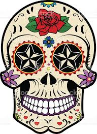Day Of The Dead White Sugar Skull Isolated On White Background Day Of The Dead Stock