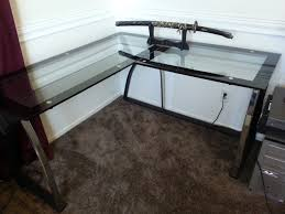 L Desk L Shaped Glass Desk With Stainless Steel Bases Placed In The