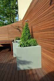modern garden design artificial grass raised beds hardwood decking