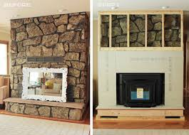fireplace surround redo rock framework coverup home goodness