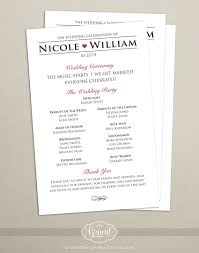 sided wedding programs modern wedding program single sided flat program