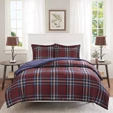 Burgundy Duvet Sets Navy Blue Burgundy Red Plaid Comforter Twin Twin Xl Set Cozy Warm