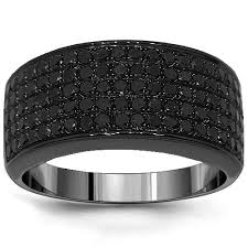 mens wedding bands with diamonds solid gold black rhodium mens black diamond wedding ring band 2 68 ctw