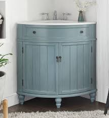 Cottage Bathroom Vanity Cabinets by 24 Inch Bathroom Vanity For Corner Cottage Beach Style Light Blue