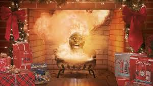 old spice releases yule log that continuously explodes inside of a